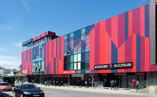 """Facade of the shopping center """"Gldani Plaza"""""""